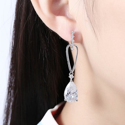 Romantic Zircon Inlaid Copper Plating Earrings