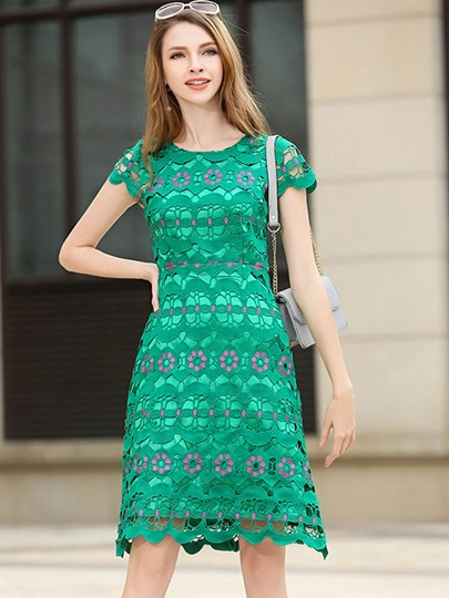 Cap Sleeve Green Women's Lace Dress