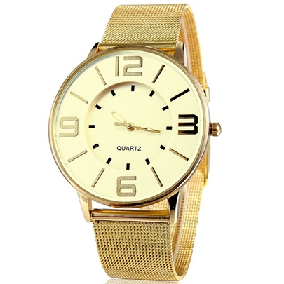 Noble Roundness Dial Golden Color Band Men's Watch