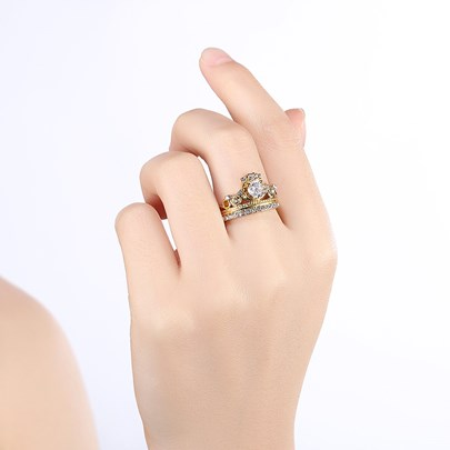 Gold Plated Zircon Embellished Crown Ring