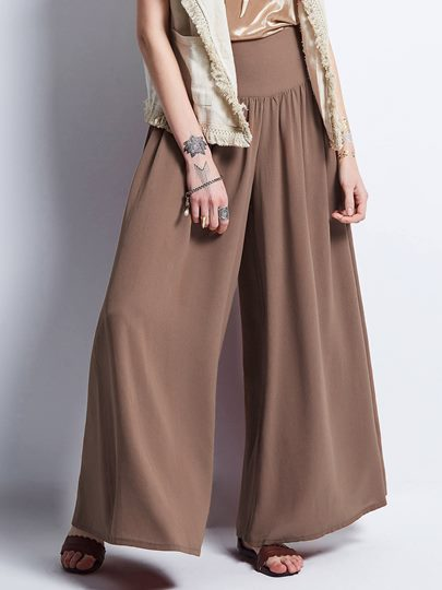 Plain Loose Wide Legs Women's Pants