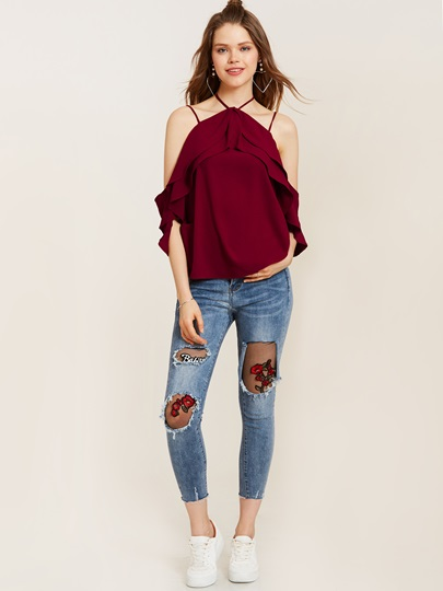Strappy Plain Cold Shoulder Layered Women's Blouse