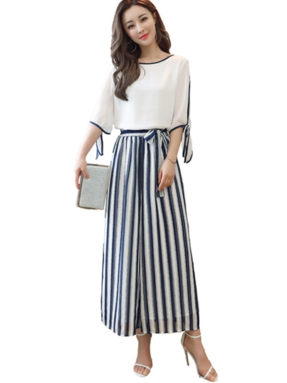 Striped Printing Bowknot Women' s Pants Suit