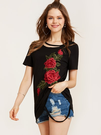 Flower Embroidery Hole Loose Women's T-Shirt
