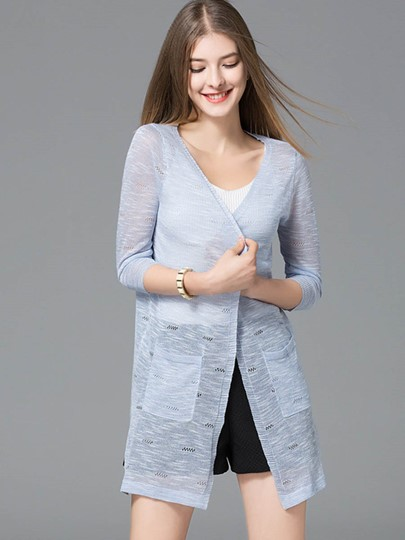Double Pocket See-Through Women's Cardigan