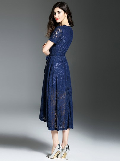 Hollow Lace See-Through Women's Maxi Dress