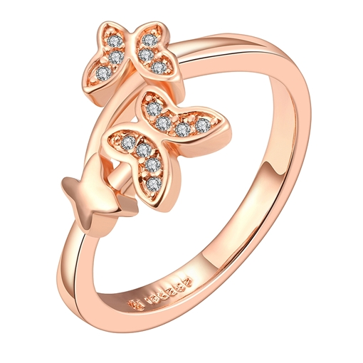 Double Butterfly Design Zircon Ring