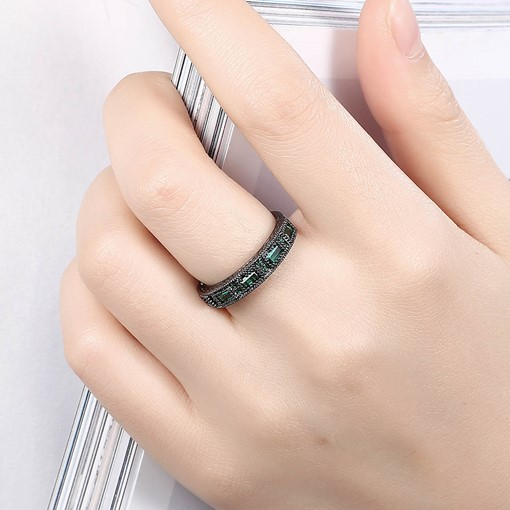 Black Gun Plated Full Green Rhinestone Ring