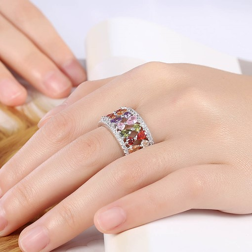 Copper Water Droplets with Rhinestone Ring