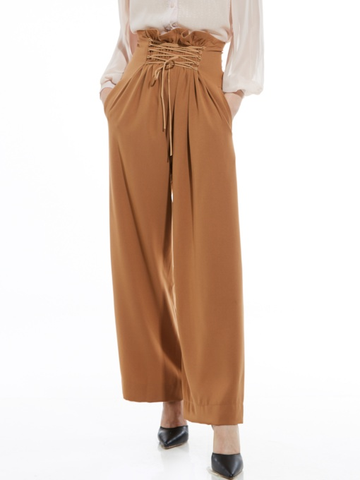 High-Waist Lace-Up Wide Legs Women's Pants