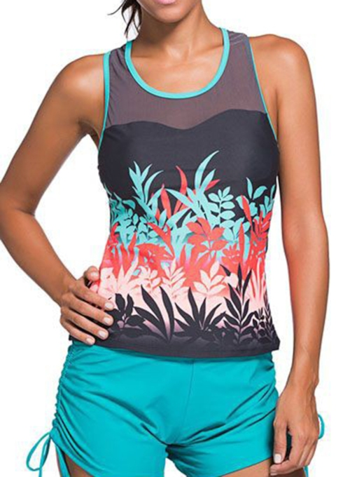 Simple Plant Pattern Tankini Set