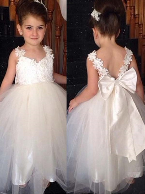 Appliques Straps Bowknot Long Flower Girl Dress