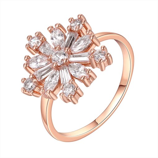 Copper Plated Rhinestone Flower Design Ring