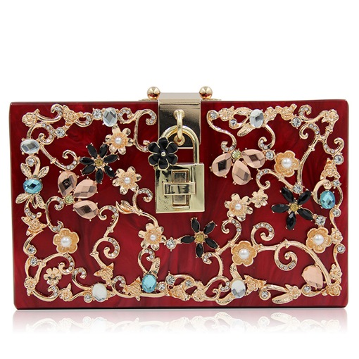 Rhinestone-encrusted Hollow Out Flowers Evening Clutch