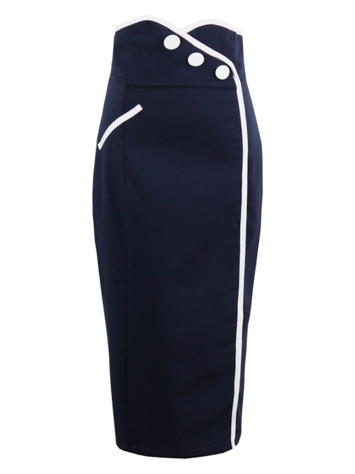 Plain Slim Straight Mid-Calf Women's Skirt