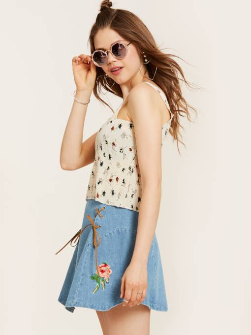 Spaghetti Straps Slim Flower Print Women's Tank Top