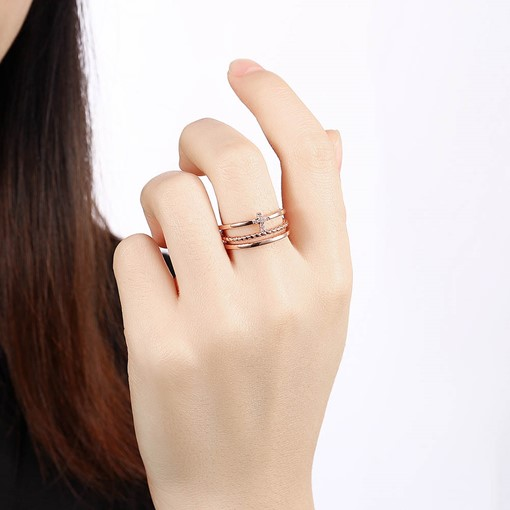 Cross Design Rose Gold Plated Opening Ring