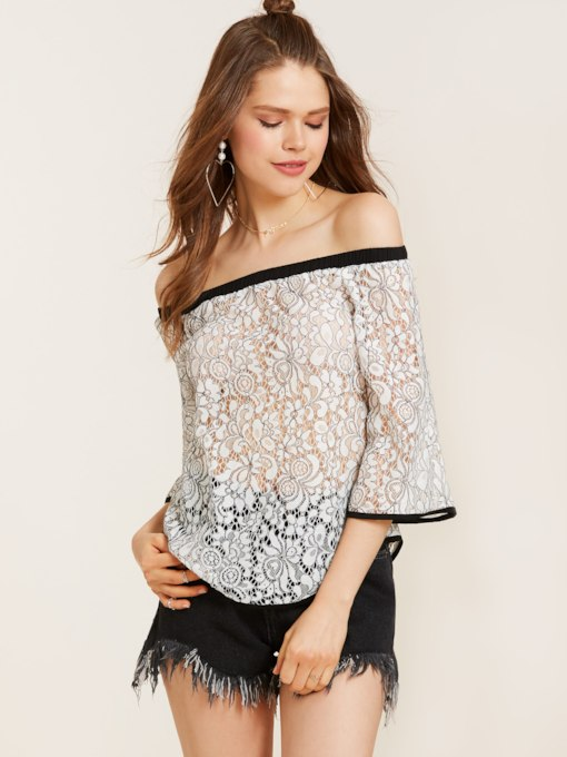 Slash Neck Three-Quarter Sleeve Lace Women's Blouse