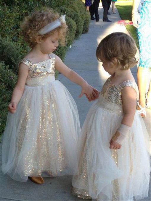 A-Line Sequins Sleeveless Square Neck Flower Girl Dress