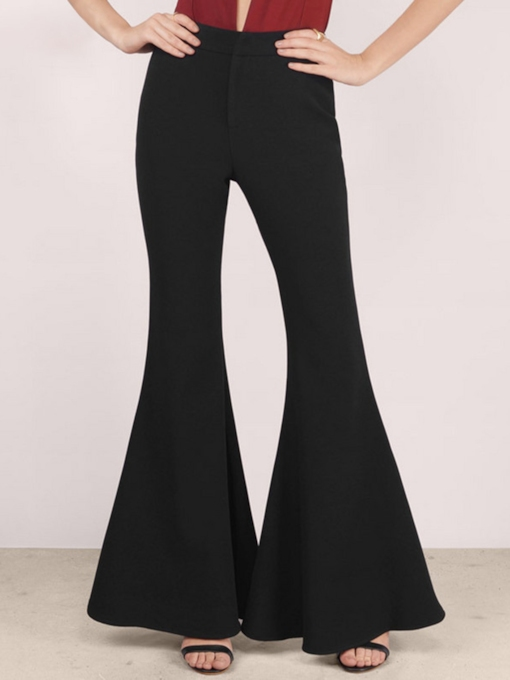 Plain High-Waist Elastics Full Length Women's Bellbottoms