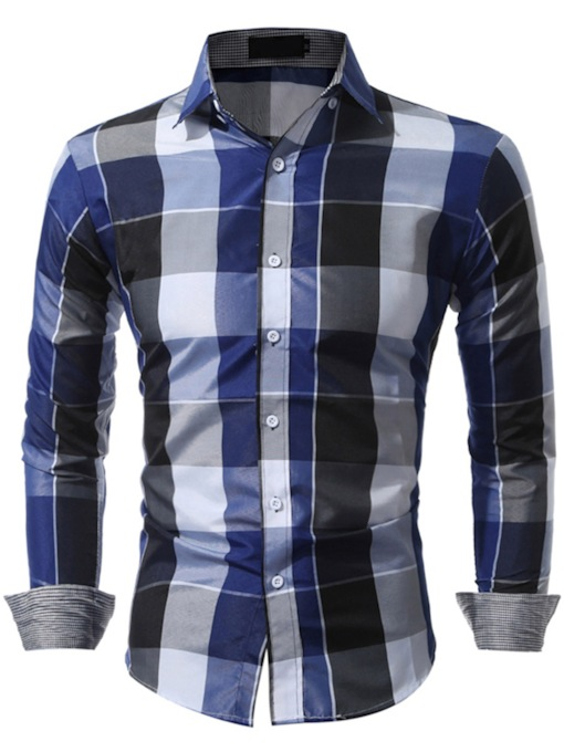 Lapel Classic Plaid Slim Men's Long Sleeve Shirt
