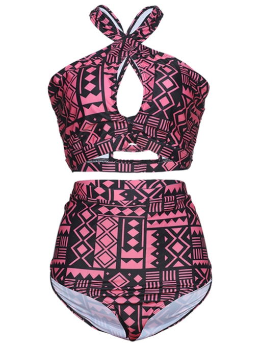 Vintage Geometric Halter Women's Plus Size Swimwear