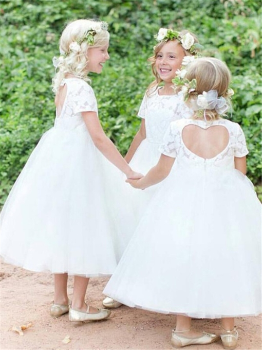A-Line Hollow Lace Tea-Length Flower Girl Dress