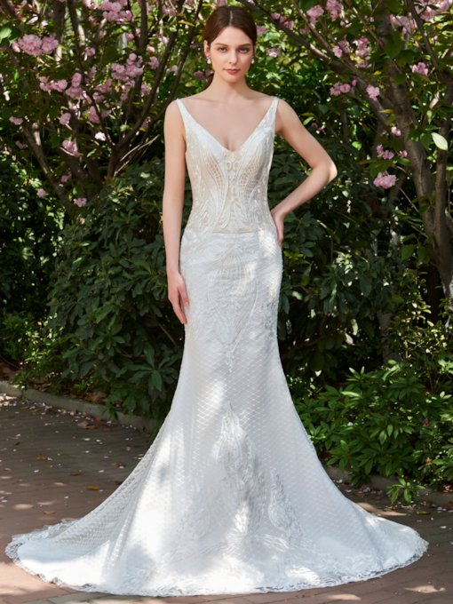 V-Neck Mermaid Backless Lace Wedding Dress