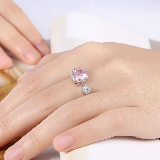 Ultra Violet Round Rhinestone Charming Opening Ring