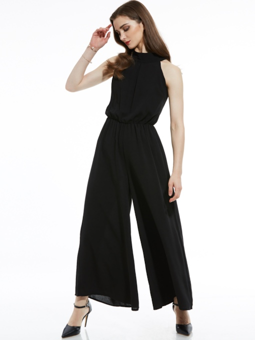 Slim Mid-Waist Plain Wide Legs Women's Jumpsuit
