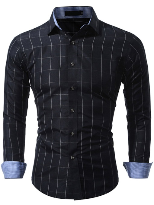 Stripe Square Neck Spring Men's Shirt