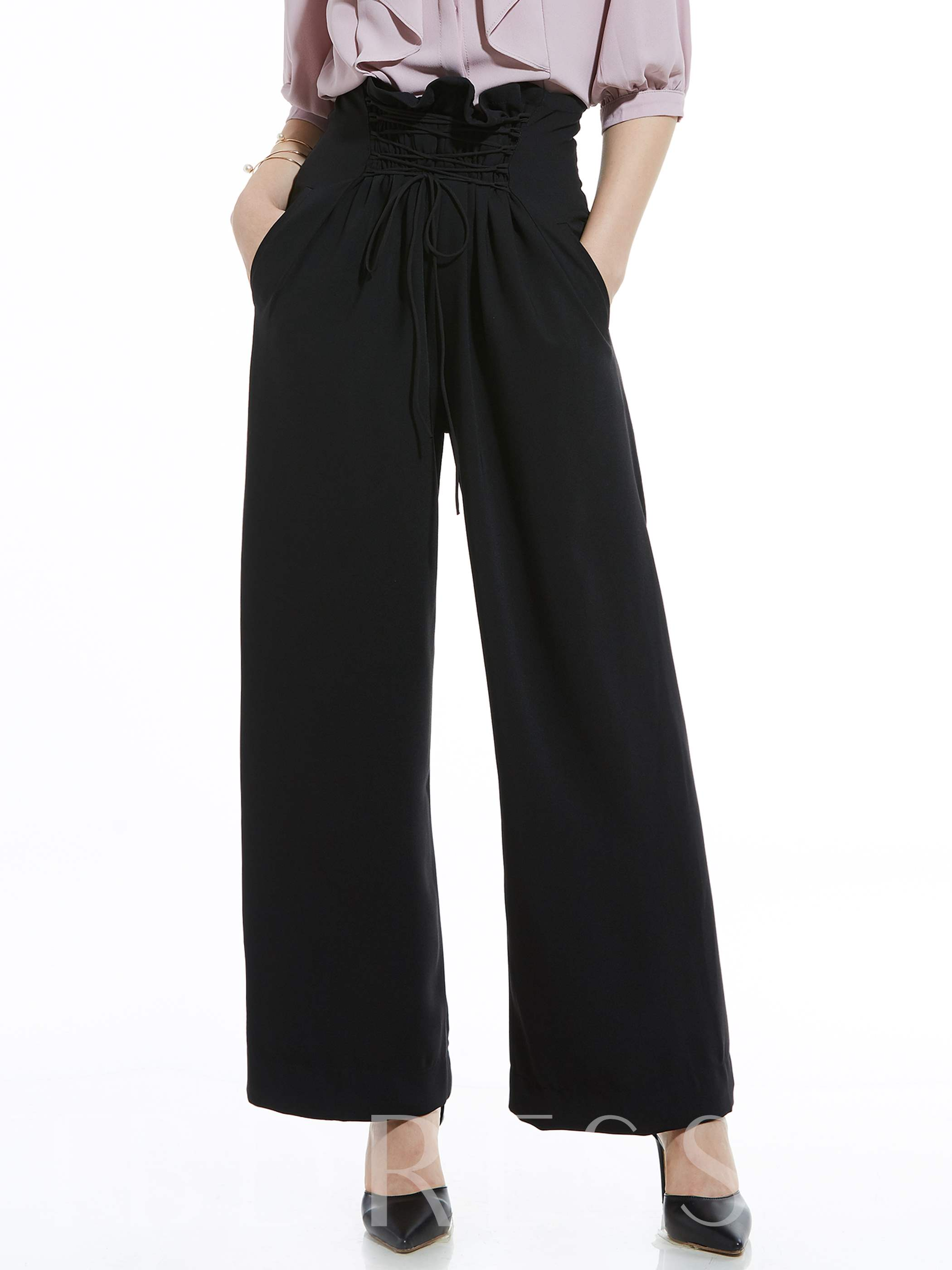 Buy High-Waist Lace-Up Wide Legs Women's Pants, 12830759 for $21.99 in TBDress store