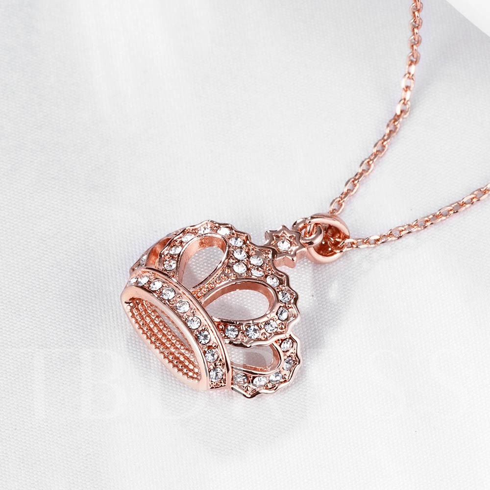 Rose Gold Crown Diamante Pendant Necklace