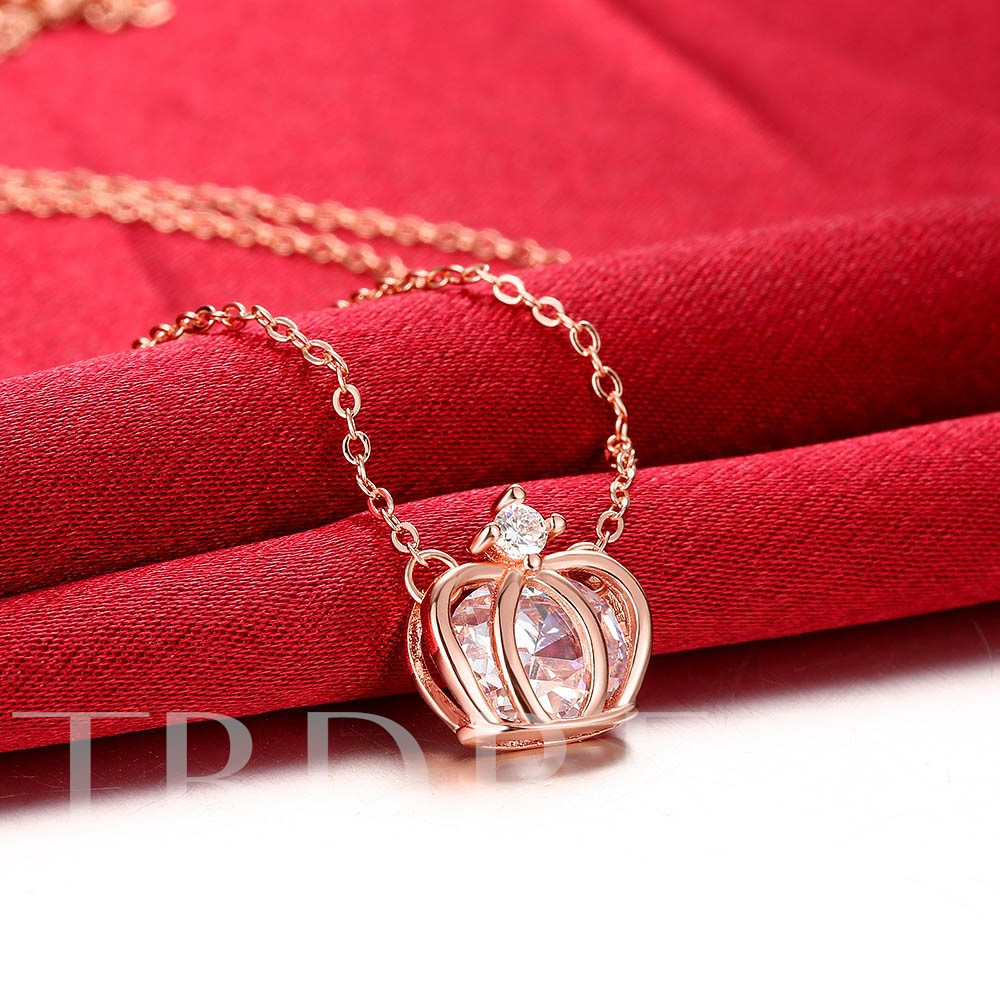 Rose Gold Plated Zircon Crown Necklace