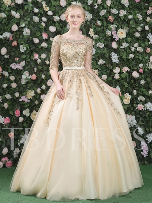 Ball Gown Half Sleeves Beading Lace Sashes Quinceanera Dress