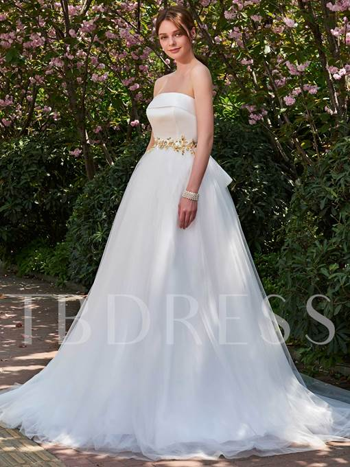Beaded Waist Bowknot A-Line Strapless Wedding Dress