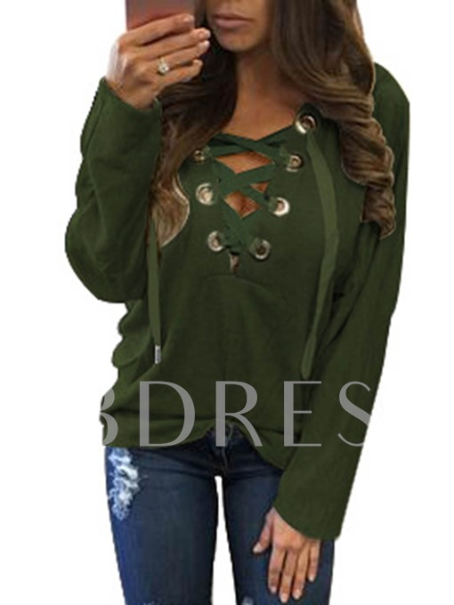 Chic Crisscross Front Lace-Up Women's Hoodie