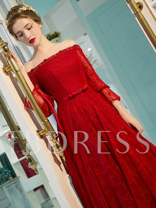 Off-the-Shoulder Beading Lace A-Line Pearls Bowknot Sashes Evening Dress