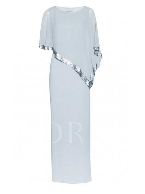 Sequins Half Sleeve Straight Women's Maxi Dress