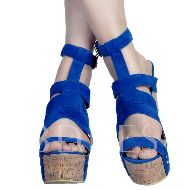 Open Toe Blue Wedge Heel Women's Sandals