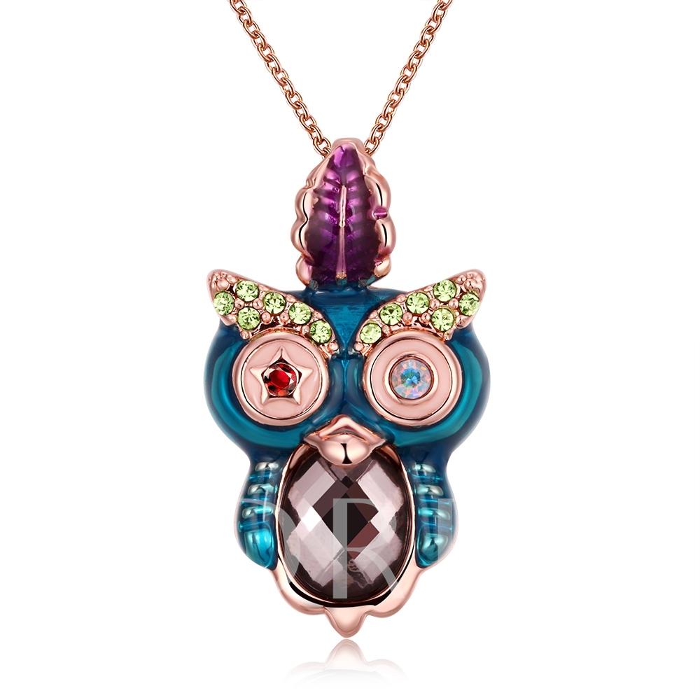 Colorful Rhinestoned Owl Pendant Necklace