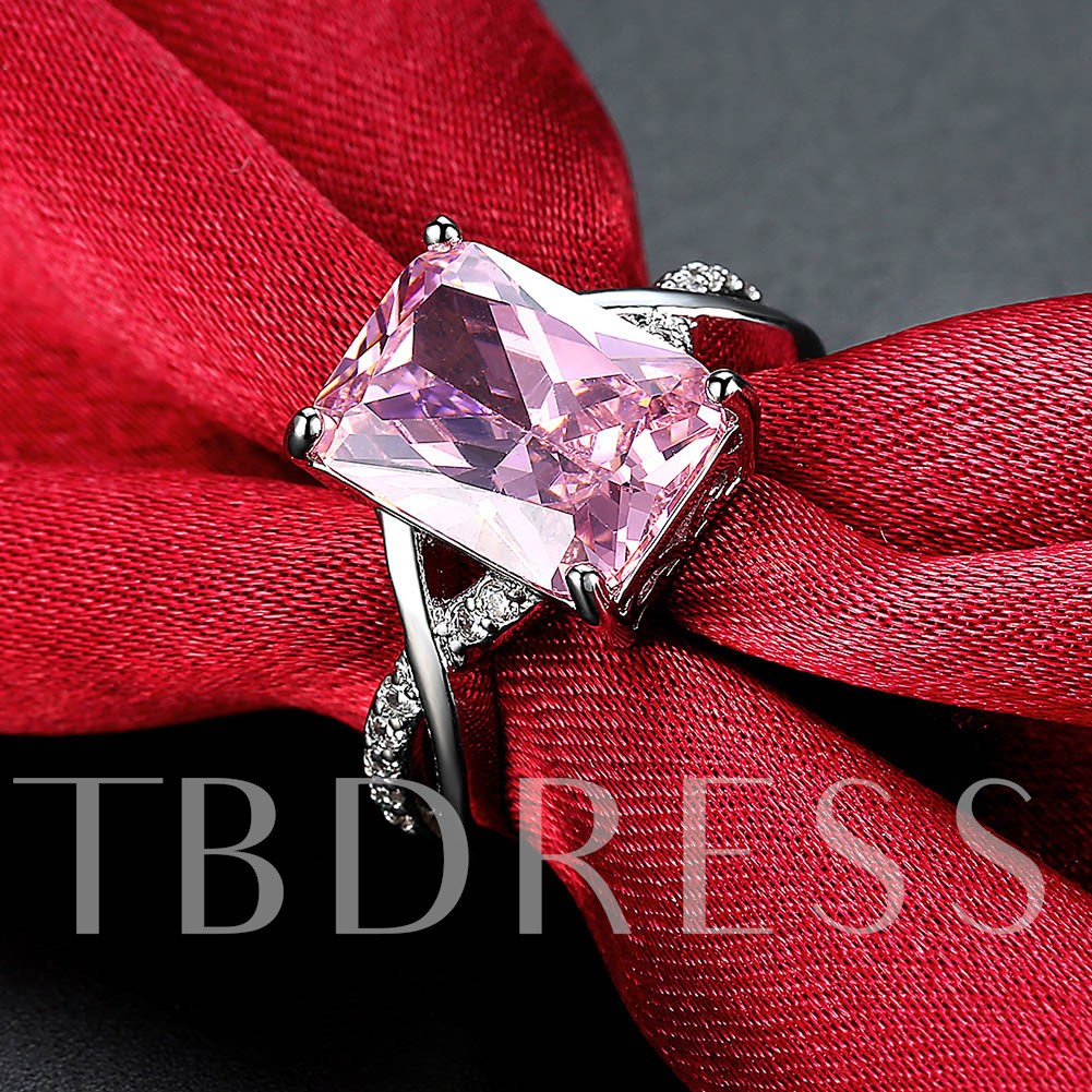 Geometric Pink Rhinestone Embellished Alloy Ring