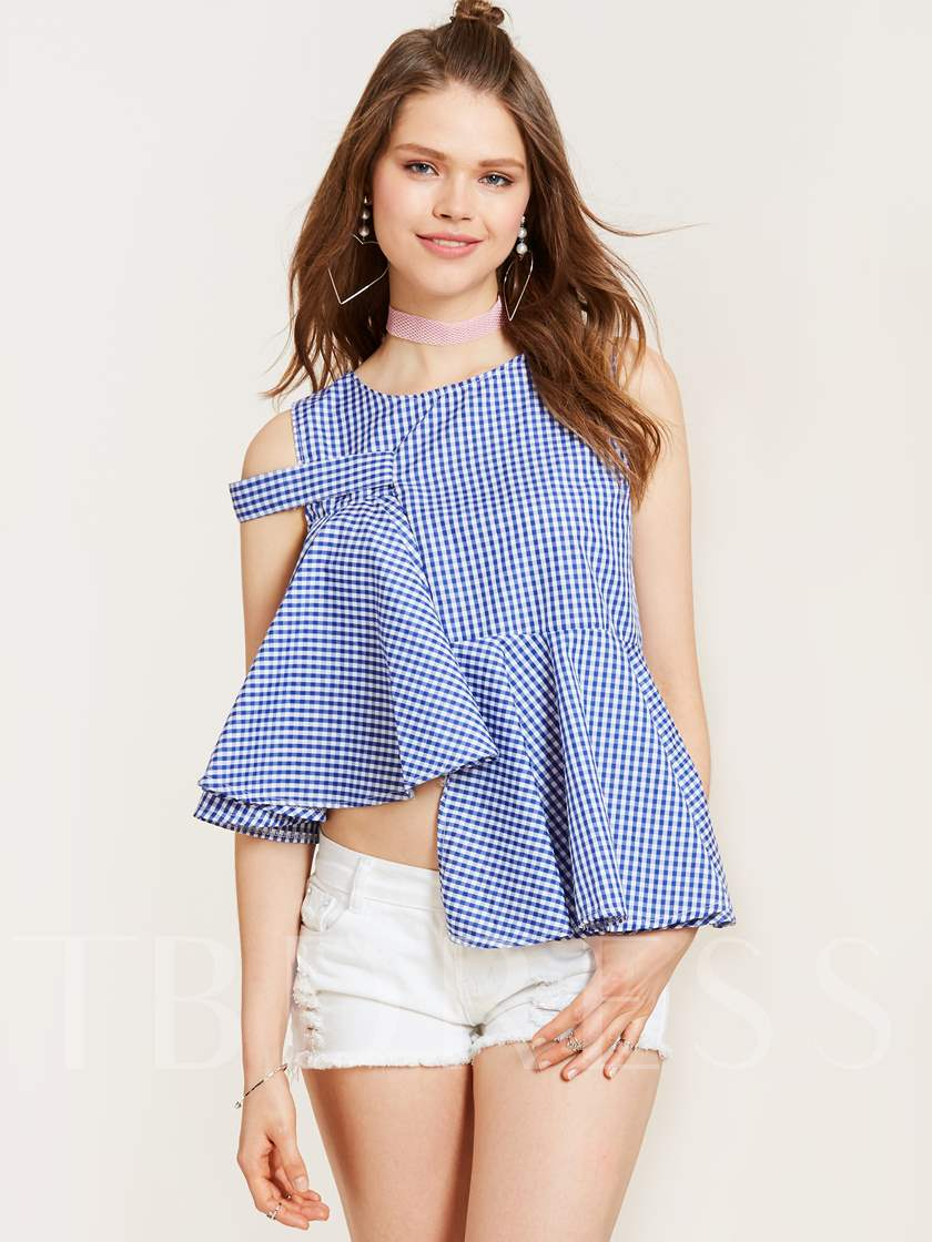 Plaid Falbala Patchwork Asymmetric Women's Blouse