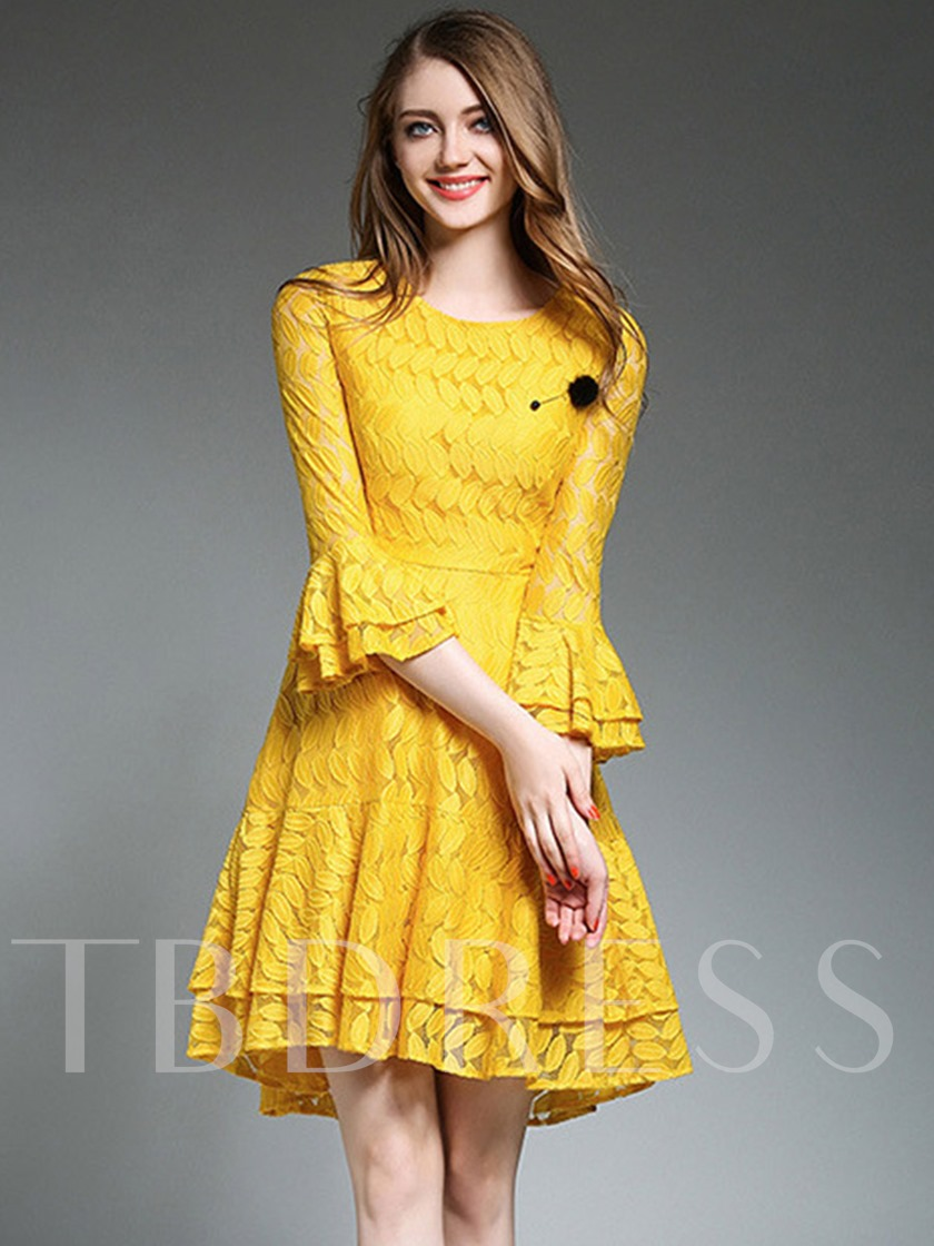 Bell Sleeve Tiered Women's Lace Dress