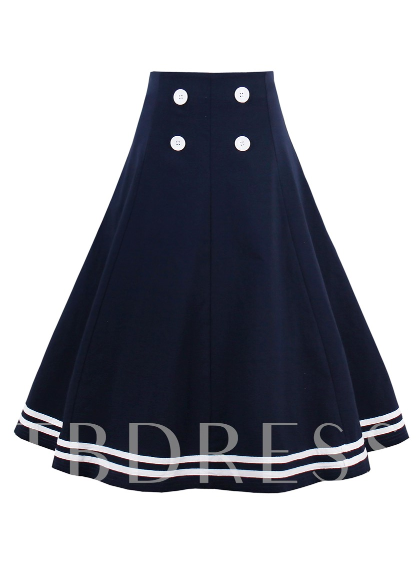 Plain A-Line Stripe Print Button Women's Skirt