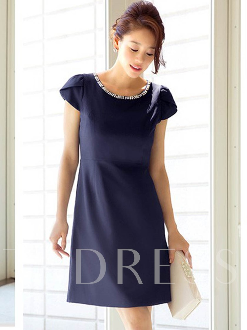 Knee-Length Short Sleeve Zipper Women's Dress