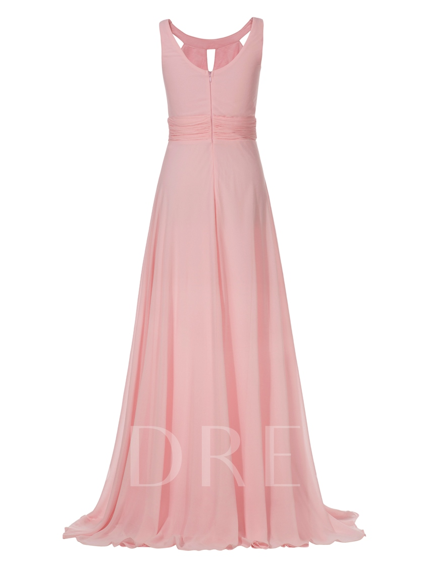 A-Line Chiffon Scoop Sleeveless Ankle-Length Evening Dress