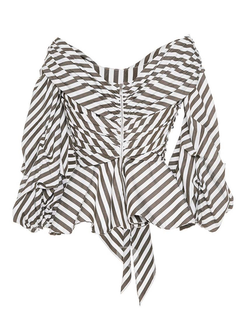 Stripe Belted Waist Cross Front Back Zipper Women's Blouse