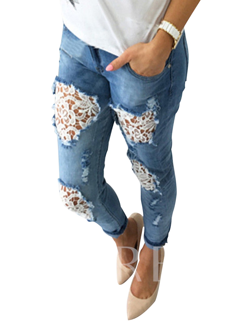 Plain Hollow Mid-Waist Lace Women's Jeans