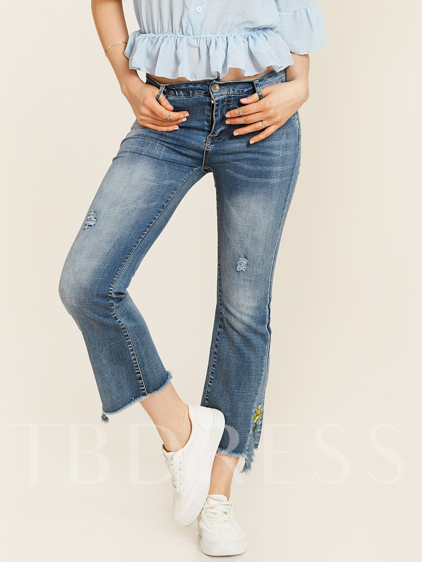 Slim Hole Floral Embroidery Bellbottoms Jeans